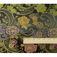 *7/8 YD PC--Black/Multi Floral Brocade