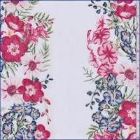 White Multi Wallpaper Floral Jersey Knit