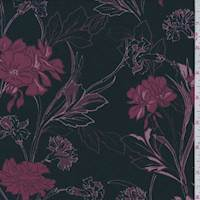 Black/Maroon Modern Floral Jersey Knit