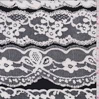 Black/White Flocked Lace Print Jersey Knit