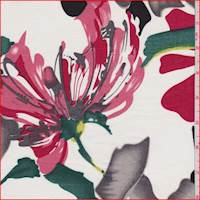 White/Red/Grey Bold Floral Cotton Lawn