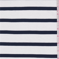 *3/4 YD PC--White/Navy Stripe Rayon Knit