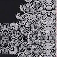 *3 1/4 YD PC--Black/Nickel Grey Medallion ITY Jersey Knit
