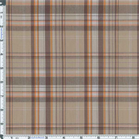 *1 YD PC--Khaki/Brown Bermuda Plaid Stretch Cotton