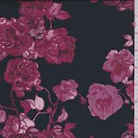 Black/Mauve/Berry Floral Stretch Satin