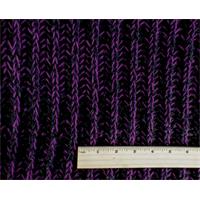 *1 5/8 YD PC--Black/Purple Wool Blend Sweater Rib Knit