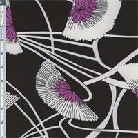 *7/8 YD PC--Black/White Fan Floral Print Satin Charmeuse