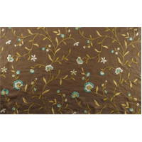 *5 1/2 YD PC--Brown/Teal Floral Embroidered Cotton Drapery Fabric