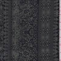 *2 1/4 YD PC--Sage/Black Baroque Tile Double Knit