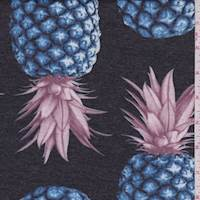 Black/Blue Pineapple Double Knit