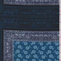 Aqua Floral Block Jersey Knit