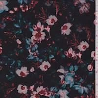 Black Multi Floral Jersey Knit