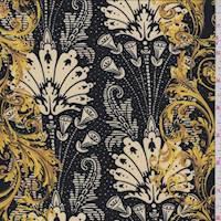 Black/Buff Baroque Jersey Knit