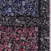 Black/Mauve/Blue Floral Block Jersey Knit