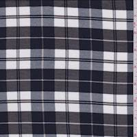 White/Navy/Taupe Plaid Jersey Knit