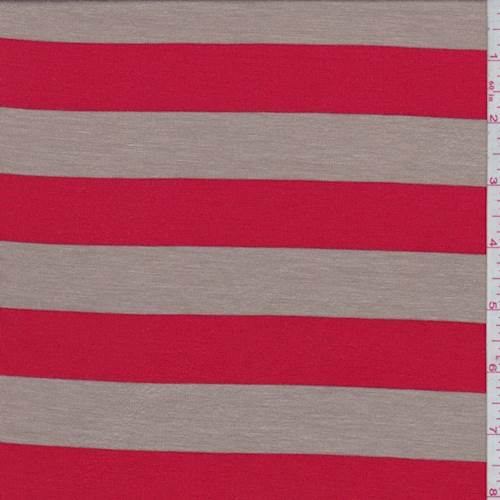43b2818a8a0 Tan/Fire Red Stripe Rayon Jersey Knit - 73498 Discount Fabrics