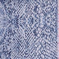 Blue/White Snakeskin Print Mesh