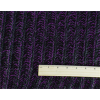 *1 1/2 YD PC--Black/Purple/Metallic Wool Blend Sweater Rib Knit