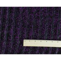 *1 1/2 YD PC--Black/Purple/Metallic Wool Blend Sweater Rib Knit