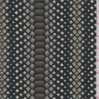 *2 1/2 YD PC--Black/Olive Diamond Print Crepe de Chine