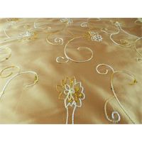 *6 YD PC--Golden Beige Floral Embroidered Sequin Tissue Taffeta