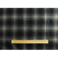 *3 3/8 YD PC--Gray/Black Wool Blend Plaid Flannel