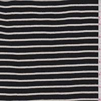 *4 3/4 YD PC--Black/White Stripe Rib Knit