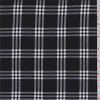 *3 3/8 YD PC--Black/White Windowpane Plaid Polyester Suiting