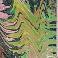 Pink/Spruce/Chartruese Marble Silk Crepe de Chine