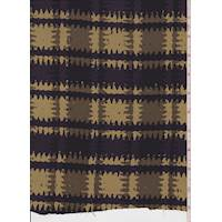 Tan/Violet Jagged Plaid Silk Crepe de Chine