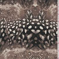 Dark Taupe Feather Print Silk Crepe de Chine