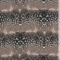 Dark Taupe Feather Stripe Silk Crepe de Chine