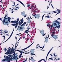 White/Iris/Pink Floral Silk Crepe de Chine