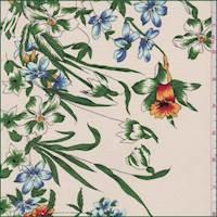 Ecru Multi Tiger Lily Silk Crepe de Chine