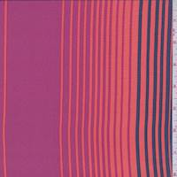 Fuchsia/Orange/Blue Stripe Silk Crepe de Chine