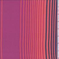 Fuchsia/Orange/Blue Stripe Silk Crepe de Chine