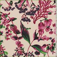 Cream/Berry Floral Silk Crepe de Chine