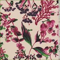 Cream/Berry Floral Silk Crepe de Chine