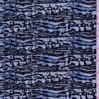 Cloud Blue/Black Strata Silk Crepe de Chine