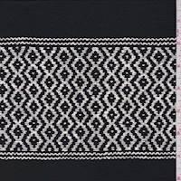 Black/White Zig Zag Stripe Silk Crepe de Chine