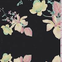 Black/Yellow/Pink Floral Silk Crepe de Chine