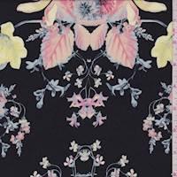 Black/Coral/Peach Floral Silk Crepe de Chine