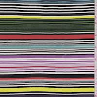 Multicolor Stripe Silk Crepe de Chine