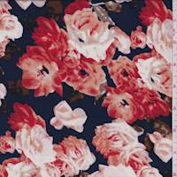 Dark Navy Floral Sweater Knit