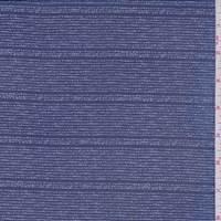 Dark Navy Dotted Stripe Silk Chiffon