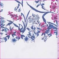 White/Iris Floral Stripe Silk Chiffon