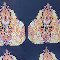 *2 PANELS--White/Navy/Pink Crepe De Chine