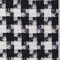 Black/White Houndstooth Check Chenille Wool Blend Boucle