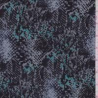 *1 1/2 YD PC--Grey/Black/Turquoise Snakeskin Print Challis