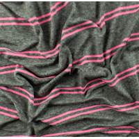 Grey/Bubblegum Pink Rayon Stripe Jersey Knit
